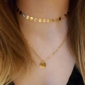 Gold Round Disc Choker Necklace